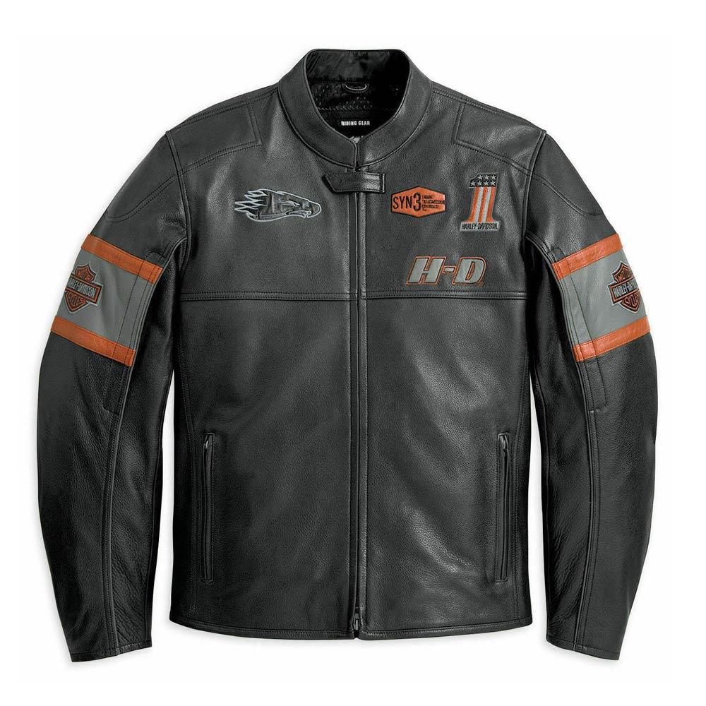 Harley Davidson Men/'s Real Cow Hide Leather Biker Vest Jacket Black Cafe Racer
